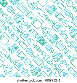Garbage seamless pattern with thin line icons: garbage bin, organic trash, garbage truck, glass, recycled paper, aluminium, battery, plastic bottle. Modern vector illustration.