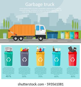 Garbage sorting bins infographic recycling concept ship the trash Ecology city flat background set