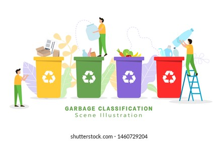 Garbage sorting and garbage collection - vector illustration,small little people throw garbage in containers. Sorting Garbage Waste. Plastic, paper, organic. e-waste. Environmental protection, ecology