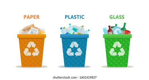 Garbage sorting. Different garbage cans for plastic, glass and paper. Ecology and recycling concept. Vector illustration, flat design, isolated on white background.