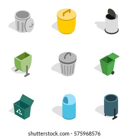 Garbage storage icons set. Isometric 3d illustration of 9 garbage storage vector icons for web