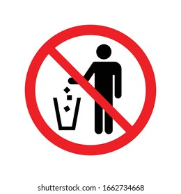Garbage symbol. Do not litter sign. Trash icon. No sign. Flat vector illustration. Red circle. Logo on white background.