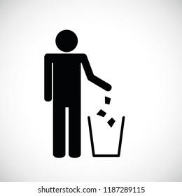 garbage symbol pictogram isolated on white background vector illustration EPS10