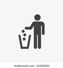 Garbage symbol in trendy flat style isolated on grey background, for your web site design, app, logo, UI. Vector illustration, EPS10.