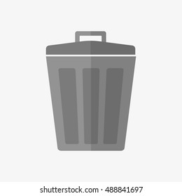 Garbage trash bin icon isolated. Vector illustration. Flat style.waste paper basket. Waste bin.Garbage bin.Garbage basket.Trash basket.Clean up.Cleaning icon.Bin vector.Garbage sign