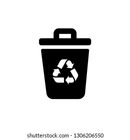 Garbage Trash can Vector Icon. Eco Bio concept, recycling. Flat design illustration isolated on white background. Black sign for web, website.