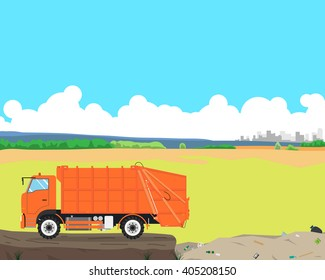 Garbage truck came out of the city to the landfill to unload garbage. Cleaning equipment. Vector illustration