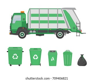 Garbage truck and garbage cans on white background. Ecology and recycle concept. Vector illustration.