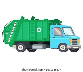 Garbage truck car machine recycle trash transportation automobile flat vector design illustration