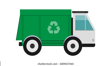 Garbage truck. Cool urban sanitary vehicle garbage front loader truck. Solid waste collection and transportation. Green garbage truck. Garbage recycling and utilization equipment. Flat vector.