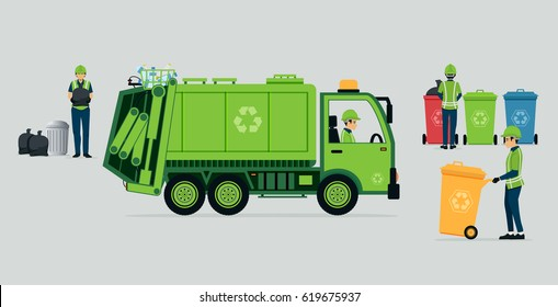 Garbage truck driver with recycle bins.
