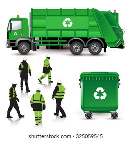 Garbage truck, dumpster and workers isolated on white. Vector illustration