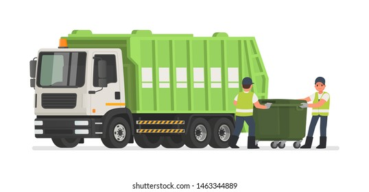 Garbage truck and dustmen. Scavengers workers clean the trash can. Vector illustration in flat style