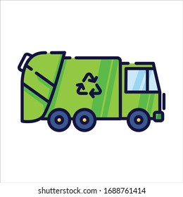 Garbage truck filled-outline simple icon in white isolated background. Vehicle clip art.