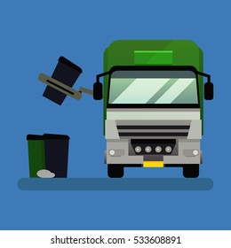 Garbage truck front view vector illustration.