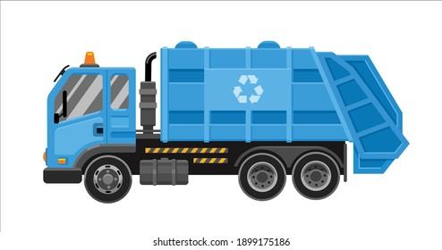 Garbage truck with frontal loader. Collection and transportation of solid household and commercial waste. Blue garbage truck. Vector flat illustration