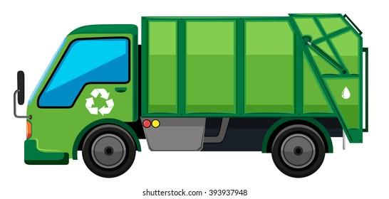 Garbage truck in green color illustration