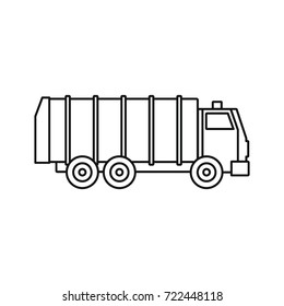 Garbage truck icon. outline illustration of Garbage truck vector icon for web isolated on white background