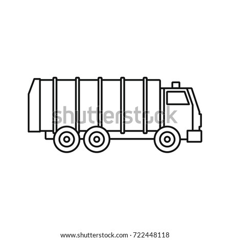 Garbage Truck Icon Outline Illustration Of Vector For Web Isolated On White