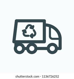 Garbage truck icon, removal garbage van vector icon
