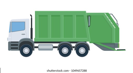 Garbage truck isolated on white background. Vehicle for waste collection. Vector illustration