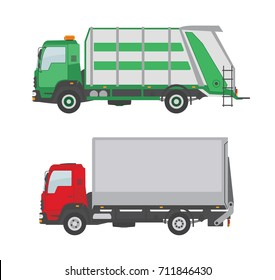Garbage truck and  truck isolated on white background. Vector illustration.