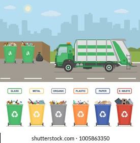 Garbage truck on the street in the town. Garbage cans isolated on white background. Sorting garbage. Ecology and recycle concept. Vector illustration.