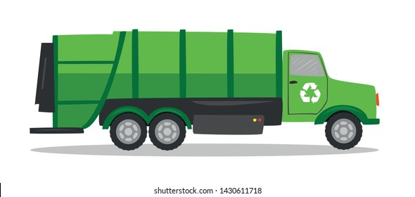 Garbage truck on white background. Vehicle for city solid waste collection
