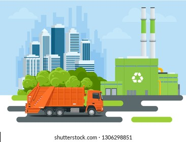 Garbage truck or Recycle truck in city. Garbage recycling and utilization equipment. City waste recycling concept with garbage truck. Vector illustration
