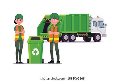 garbage truck and sanitation worker vector illustration