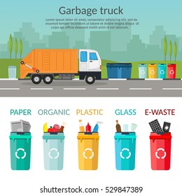 Garbage truck sorting bins recycling concept ship the trash Ecology city background