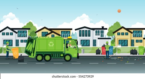 Garbage truck that employs garbage in the streets.