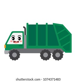 Garbage Truck transportation cartoon character side view isolated on white background vector illustration.