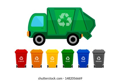 garbage truck and various types of trash bin isolated on white background, recycle truck waste and bins multi colors, garbage truck and dustbin with wheels, garbage truck green and wheel trash bin