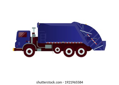 Garbage Truck Vehicle. Modern Flat Style Vector Illustration. Social Media Template.