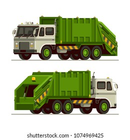 garbage truck waste vehicle front and back view in flat style vector illustration