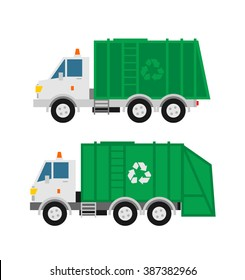 garbage trucks isolated on white background