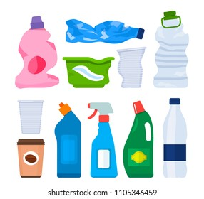 Garbage from various plastic bottles and packages. The concept of recycling and collection of garbage and waste. A set of bottles. flat vector illustration isolated on white background