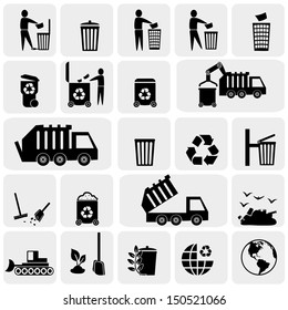 Garbage vector icons set on gray.