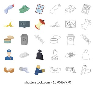 Garbage and waste cartoon,outline icons in set collection for design. Cleaning garbage vector symbol stock web illustration.