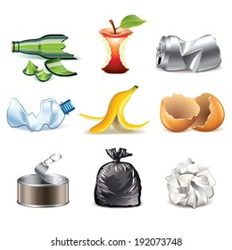 Garbage and waste icons detailed photo-realistic vector set