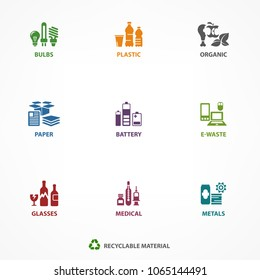 Garbage waste recycling icons, line symbols of different waste sorting, garbage recycling. Vector illustration.