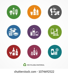 Garbage waste recycling icons, line round symbols of different waste sorting, garbage recycling. Vector illustration.