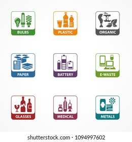 Garbage waste recycling square icons, line symbols of different waste sorting, garbage recycling vector illustration