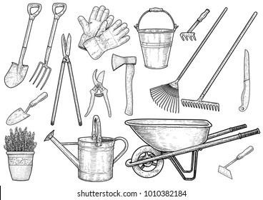 Garden accessories illustration, drawing, engraving, ink, line art, vector