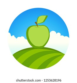 Garden with apple, Round label of organic farm with Fresh fruit under clean blue sky. Beautiful vector emblem with fresh harvest.