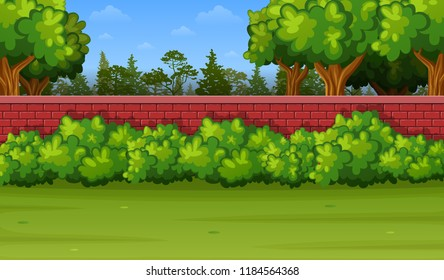 Garden background with brick wall and green grass