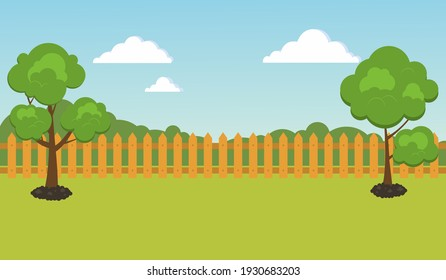 Garden background, with trees and a cute fence. Spring landscape with a garden. Landscape scene.