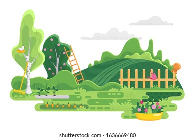 Garden background with trees and garden tools. Landscape with Field, bushes, stairs and fence. Vector stock illustration with spring nature. Panoramic background with leaves and grass. Green nature.
