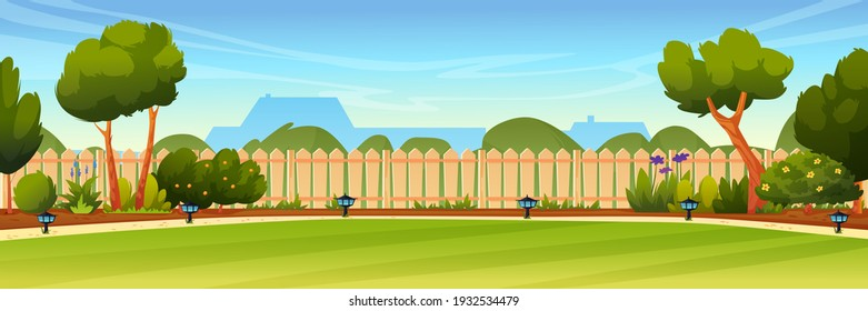 Garden backyard with wooden fence hedge, green trees and bushes, grass and flowers, park plants, house on background. Vector spring or summer outside landscape. Farm natural view, eco agriculture